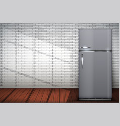laundry room of brick wall and fridge freezer vector image