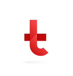 letter t logo on white alphabet background vector image