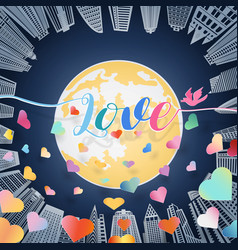 Love letter with bird and scatter of colorful vector