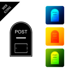Mail box icon post box icon isolated set icons vector