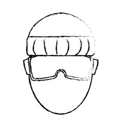 Man character head using vr goggles technology vector