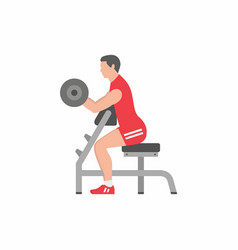 Man lifting up barbells doing biceps exercise vector