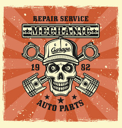 mechanic skull and crossed pistons emblem vector image