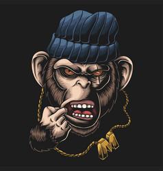 monkey gangster head vector image