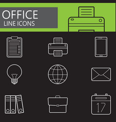 Office line icons set outline symbol vector