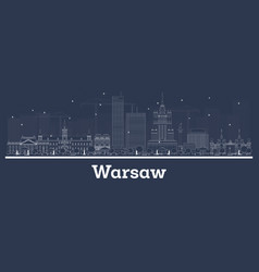 outline warsaw poland city skyline with white vector image