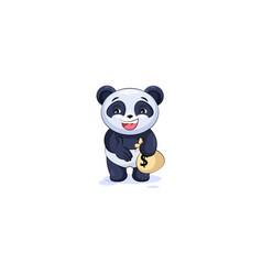 Panda extend hand offer business deal vector