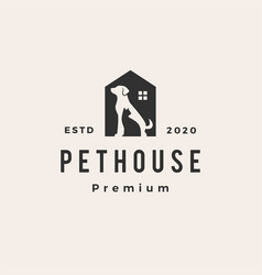 pet house dog cat hipster vintage logo icon vector image