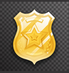 police officer gold badge icon protection insignia vector image
