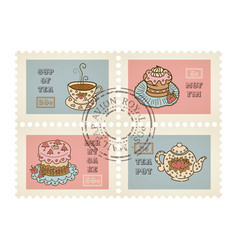 Postage stamps retro pastry theme canceled vector