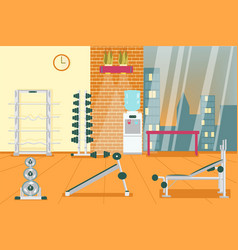 Powerlifting area interior at sports gym room vector