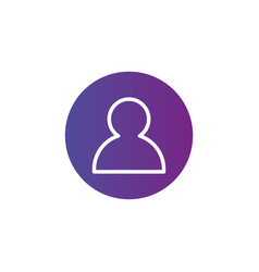 purple linear outline person icon user icon in vector image