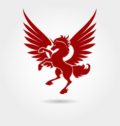red heraldic unicorn silhouette vector image