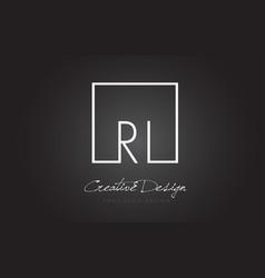 Ri square frame letter logo design with black vector
