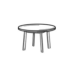 Round table hand drawn sketch icon vector