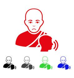 Sad buddhist confession icon vector