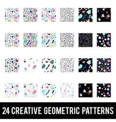 Set creative geometric patterns memphis style vector