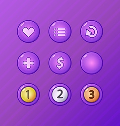 set game ui elements - violet menu restart add vector image