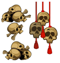 set human skulls hanging on red rope vector image