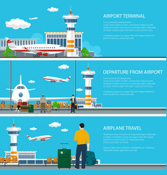 Set of airport banners vector