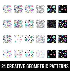 Set of creative geometric patterns Memphis style vector