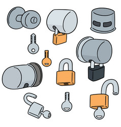 Set of door knob lock cover vector