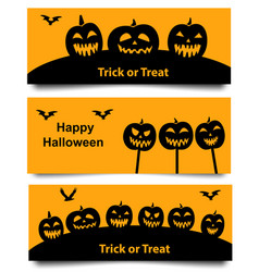 Set of halloween web banner vector