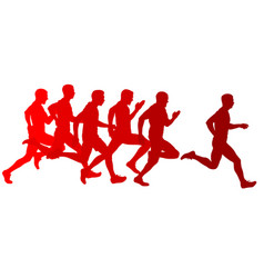 set silhouettes runners sprint men on a white vector image