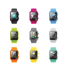 Smart watch isolated with icons full color vector