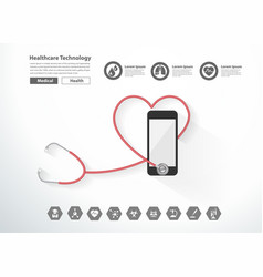 stethoscope heart with smartphone creative design vector image