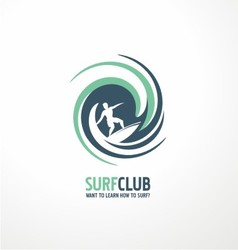 Surfing club logo design vector image