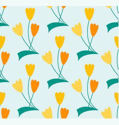 symbolic line art flower seamless pattern vector image