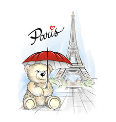 teddy bear and eiffel tower paris france vector image