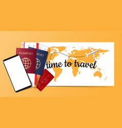 travel concept background passport boarding vector image