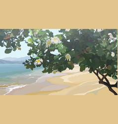 Tropical tree with flowers on sandy coast of vector
