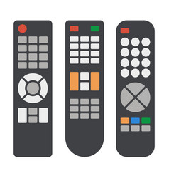 tv remote control icons set on white background vector image