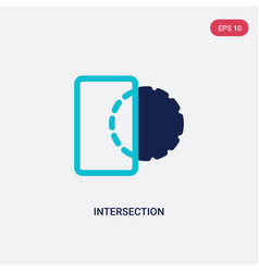 Two color intersection icon from geometric figure vector