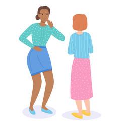 two women communicate or gossip friendly girls vector image