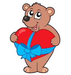 Valentine bear with heart vector