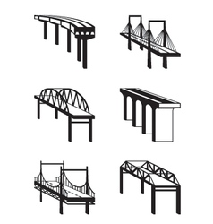 Various bridges in perspective vector image