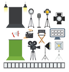 video porodaction studio objects icons vector image