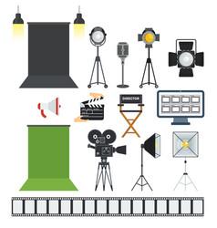 video porodaction studio objects icons vector image