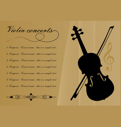 Violin concerts program template with black violin vector