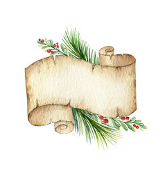 watercolor christmas old scroll paper with vector image