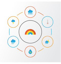 Weather flat icons set collection of the flash vector