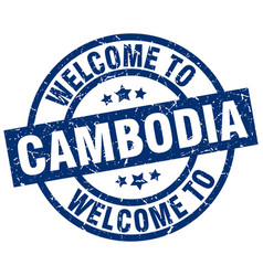 Welcome to cambodia blue stamp vector