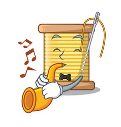 With trumpet thread bobbin isolated on a mascot vector