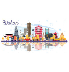 Wuhan china city skyline with color buildings and vector