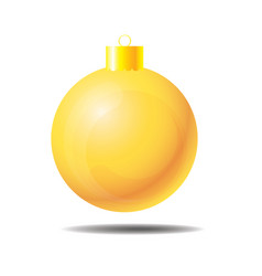 yellow christmas ball 01 vector image