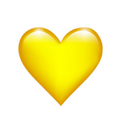 yellow love heart on a white isolated background vector image